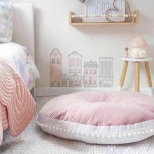 Круглая подушка 90 см, Подушка для домашнего декора, подушка для сиденья, детская подушка, мягкая Толстая хлопковая игровая Подушка, коврик для детской комнаты