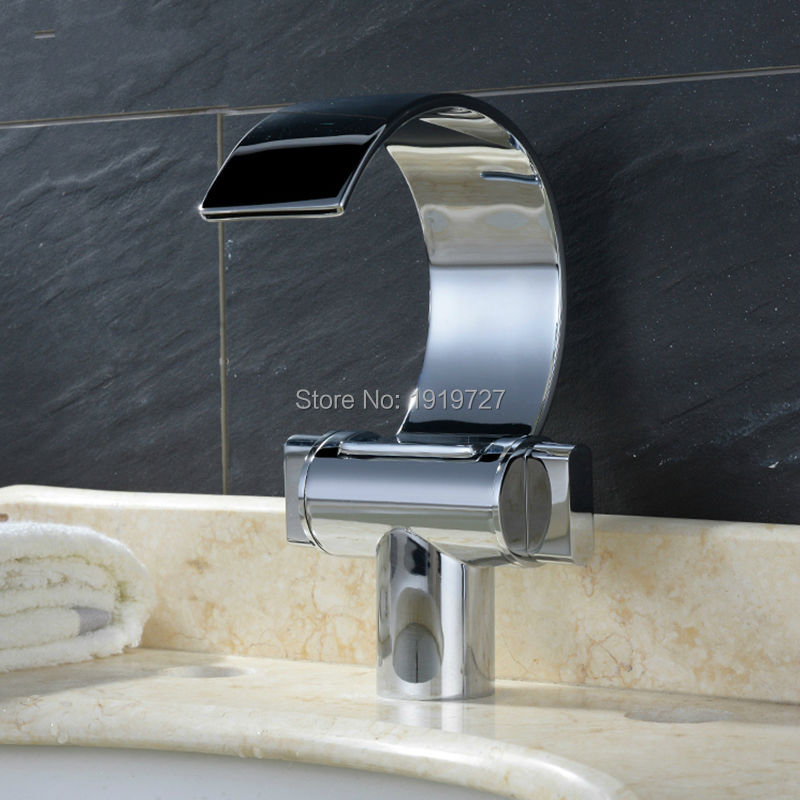 100% Solid Brass Unique Design Polish Chrome Double Handle Deck Mount Waterfall Bathroom Sink Faucet Silver Basin Mixer Tap newly modern simple bathroom waterfall widespread basin sink faucet chrome polish single handle single hole mixer tap deck mount