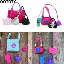 4 Pcs/ Set Cute Bags Colorful Shoulder Handbag Doll Accessories For Barbie Doll Baby Girl Kids Toy