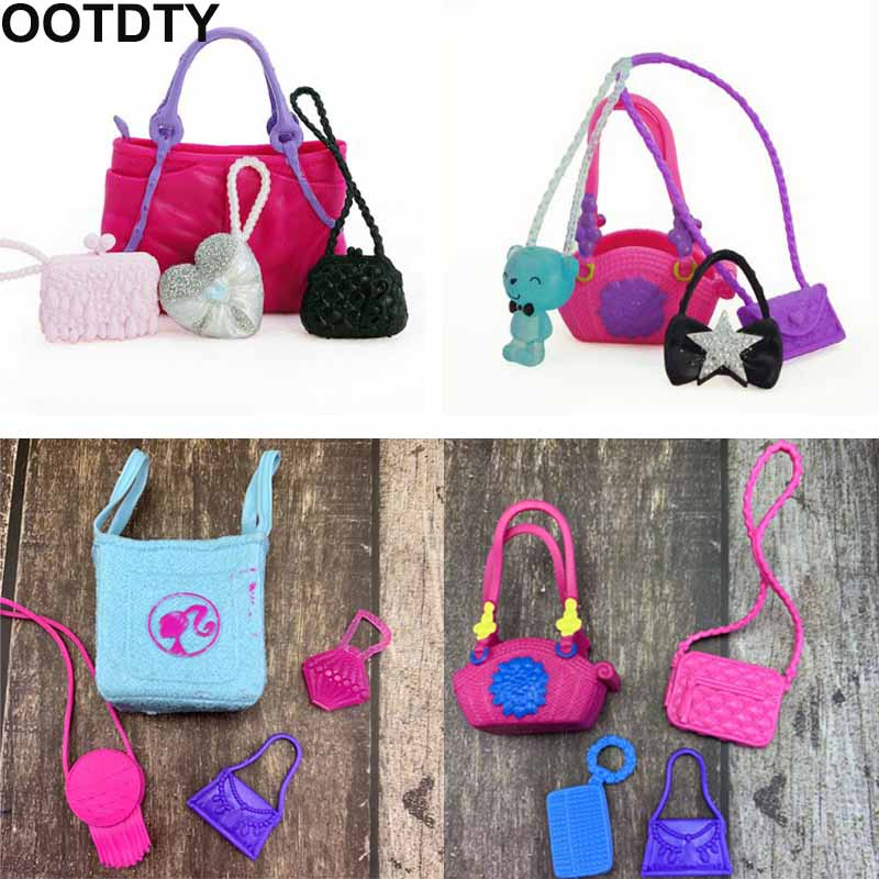 4 Pcs/ Set Cute Bags Colorful Shoulder Handbag Doll Accessories For Barbie Doll Baby Girl Kids Toy Gift