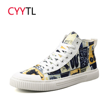 CYYTL 2019 Fashion High-top Canvas Men Casual Shoes Prints Breathable Lace-up Walking Sneakers Zapatillas Hombre Tenis Masculino
