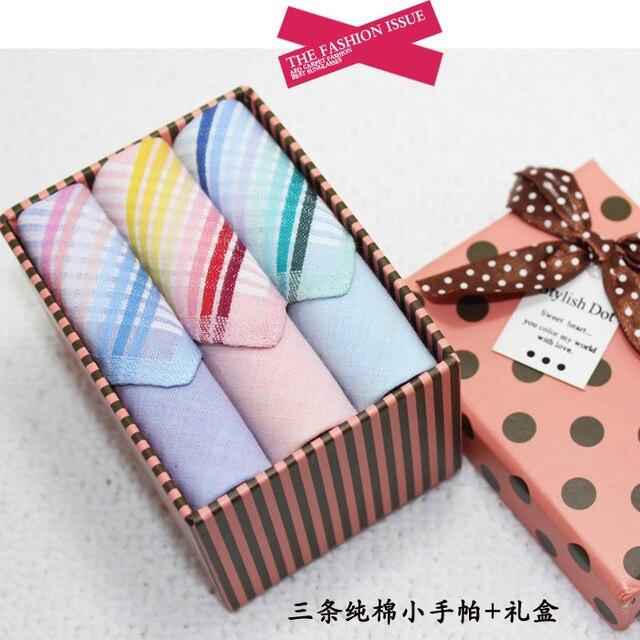 Women's girls child 100% cotton small handkerchief three-color handkerchief gift box set male handkerchief child bib gauze