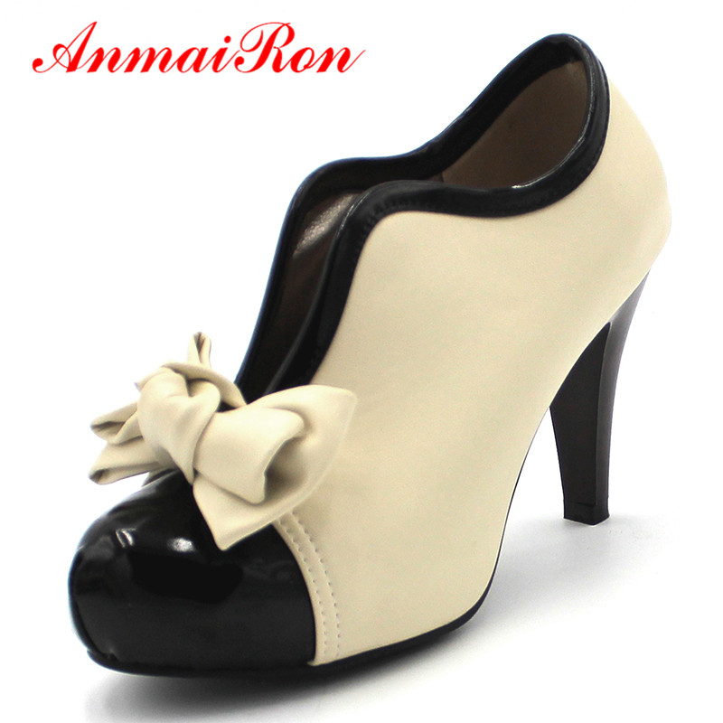 ANMAIRON New Fashion Spring/Autumn Style Bow Ankle Boots Women Round Toe High High Heels Slip-On Women's Boots Size 34-43 free shipping 10pcs ir1175s