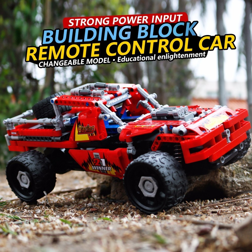 1:16 DIY Car 2.4G 4WD RC Car Electric RC Buggy Off-Road Vehicle Toy Building Blocks Model Gift Educational Toys hsp 1 10 off road buggy body 2pcs 31 17 6cm 10706 10707 106ma2 rc car electric rc car bodyshell for 94107 94107pro