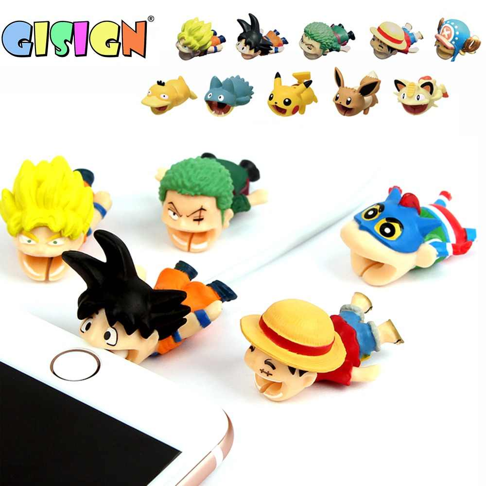 1PCS Anime Cable Bite Cable Protector Cartoon Protege Cable Stitch One Peace LUFFY Chopper Goku Pokemon Doll Model Funny Toys