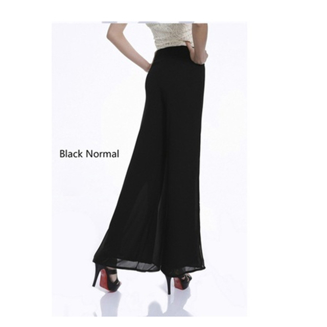 Women Chiffon Side Split Casual Pant Loose Slim Wide Leg Pants Plus Size 4XL Women Vintage High Waist Long Trousers Ladies844337