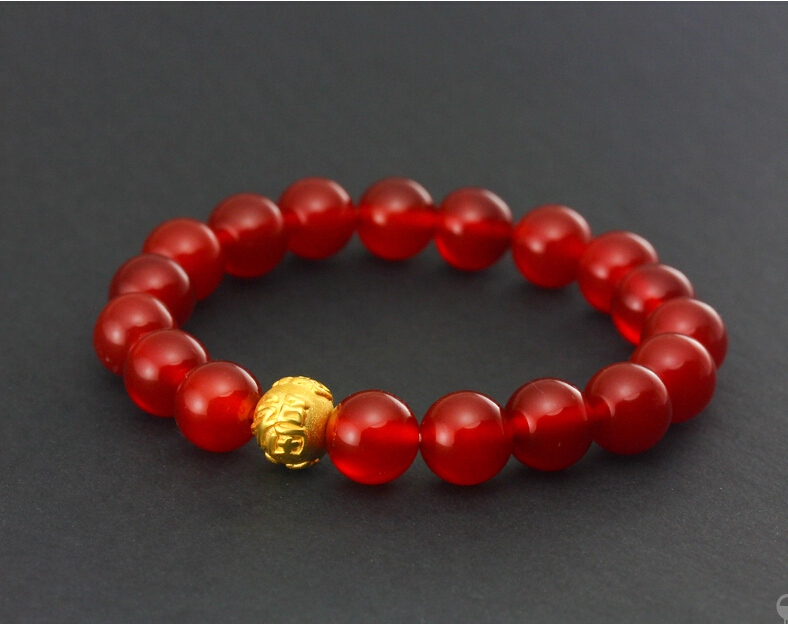 Hot sale 999 24k Yellow Gold 3D Carved FU Beads Bracelet  0.65gHot sale 999 24k Yellow Gold 3D Carved FU Beads Bracelet  0.65g