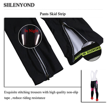 Siilenyond 2019 Women Winter Cycling Pants With 3D Gel Padded Shockproof Mountain Bike Cycling Tight Anti-slip Cycling Trousers 5