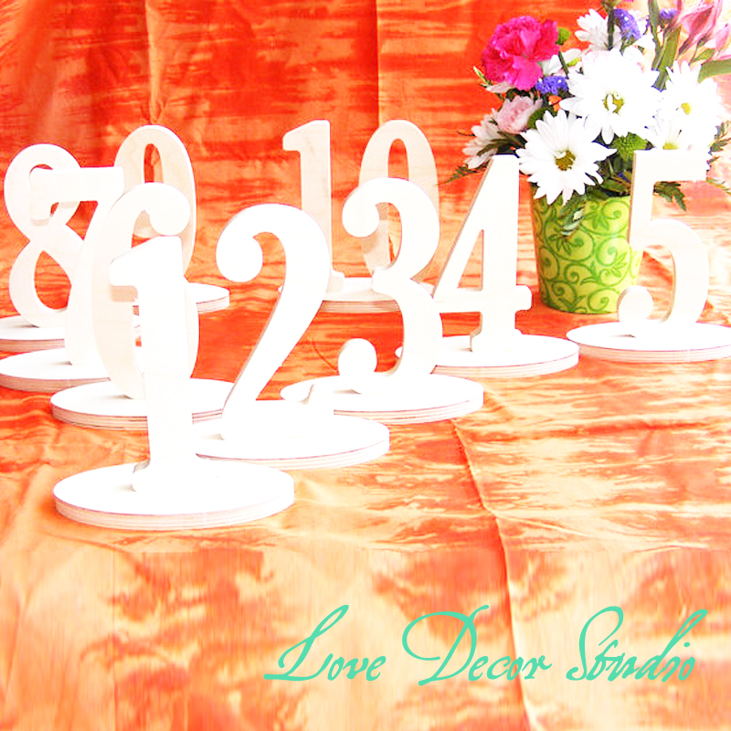 """Table numbers 5"""" tall.1-20  unpainted freestanding table numbers. Elegant Wooden Table Number, wedding table decoration"""
