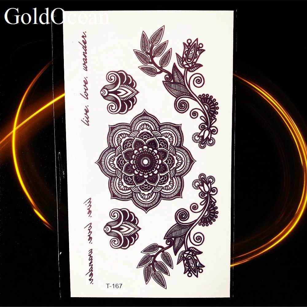 277980dae ... 10.5x6CM Small Hamsa Hands Temporary Tattoo Stickers Henna 3D Black  Rose Waterproof Tattoo Women Body ...