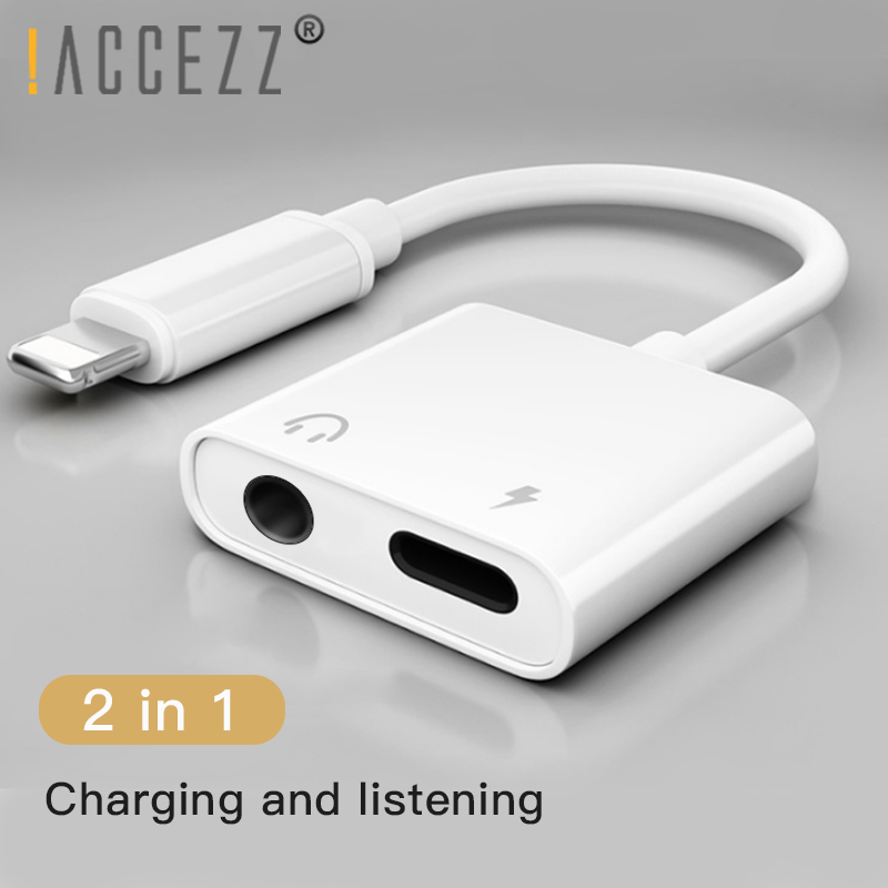 !ACCEZZ 2 In 1 Headphone Adapter For IPhone X 7 8 Plus XS MAX Lighting Adapter 3.5mm Jack Audio Cable Earphone Charging Adapters