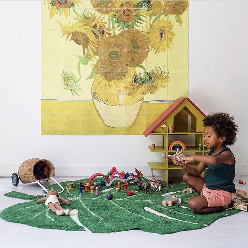 Nordique bébé tapis coton bébé feuille tapis de jeu activité jeu tapis de jeu décoration enfants chambre tapis enfants jouets couverture tapis