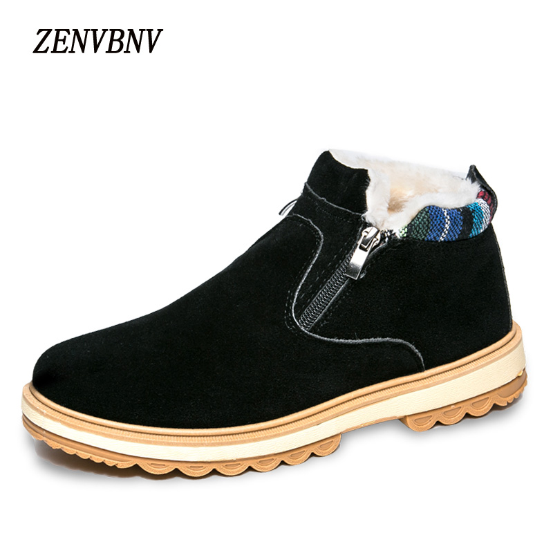 Zenvbnv Новинка 2017 года Arrirals зимние флоковые Ботинки Для мужчин теплая обувь зимние повседневная обувь плюшевые ботильоны ботинки на плоской п…