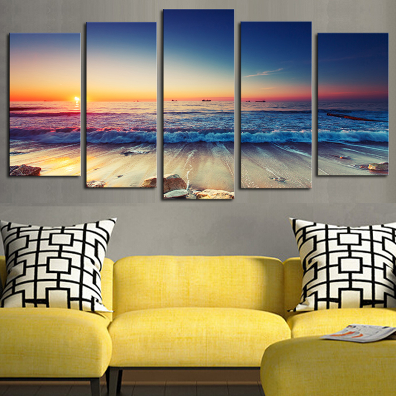 5 panels(No Frame)The Seaview Modern Home Wall Decor Painting Canvas ...