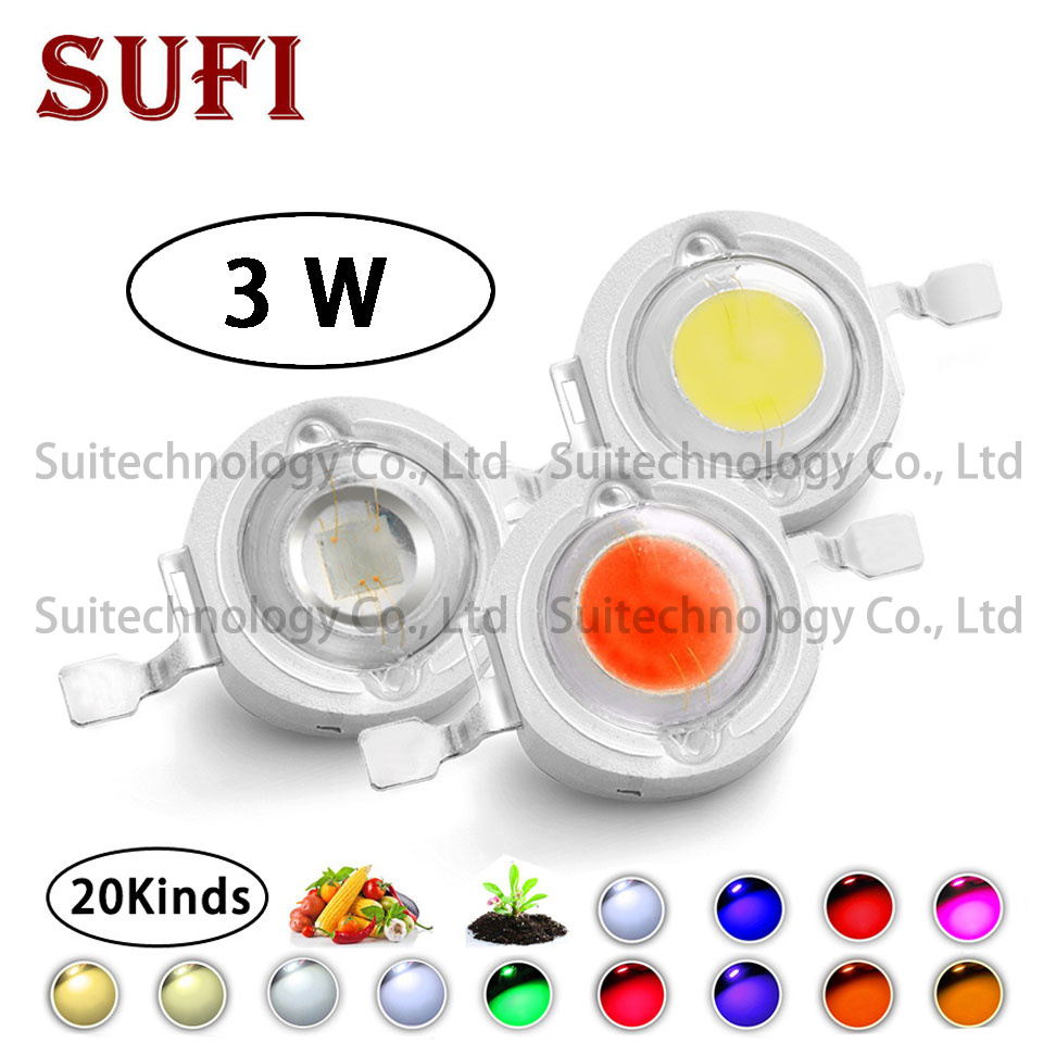 High Power LED Chip 3W Warm Natural Cool White Red Green Blue Yellow Full Spectrum for DIY Grow Ligh