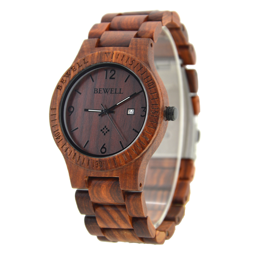 BEWELL Wood Watch Men Simple Mens Watches Top Brand Luxury Relogio Masculino Feminino Calendar Display Watch Women Gift bewell 2017 hot sale fashion wood watch men mens watches top brand luxury reloj hombre big horloges mannen with gift box 100ag