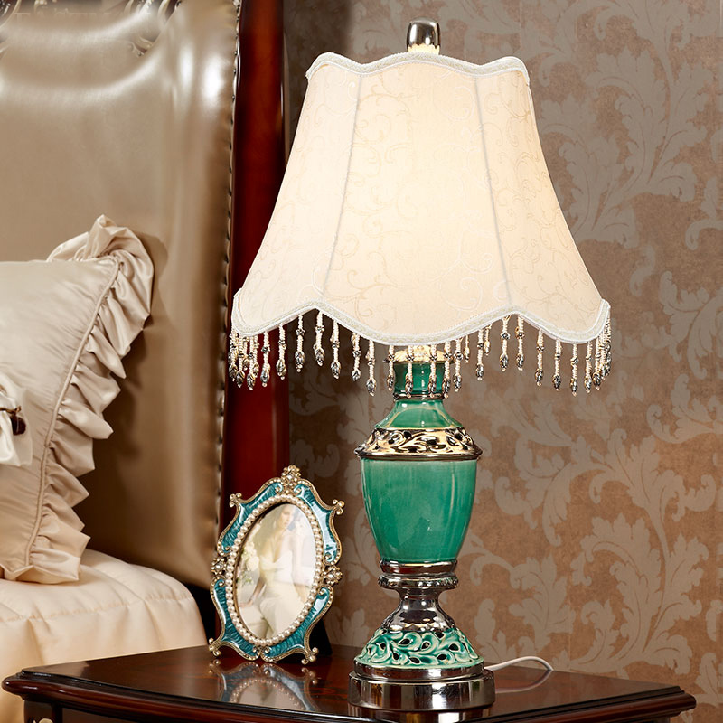 Chinese Floral Porcelain Lampshade Table Lamp Vintage Ceramic Base Living  Room Bedroom E27 110 220V