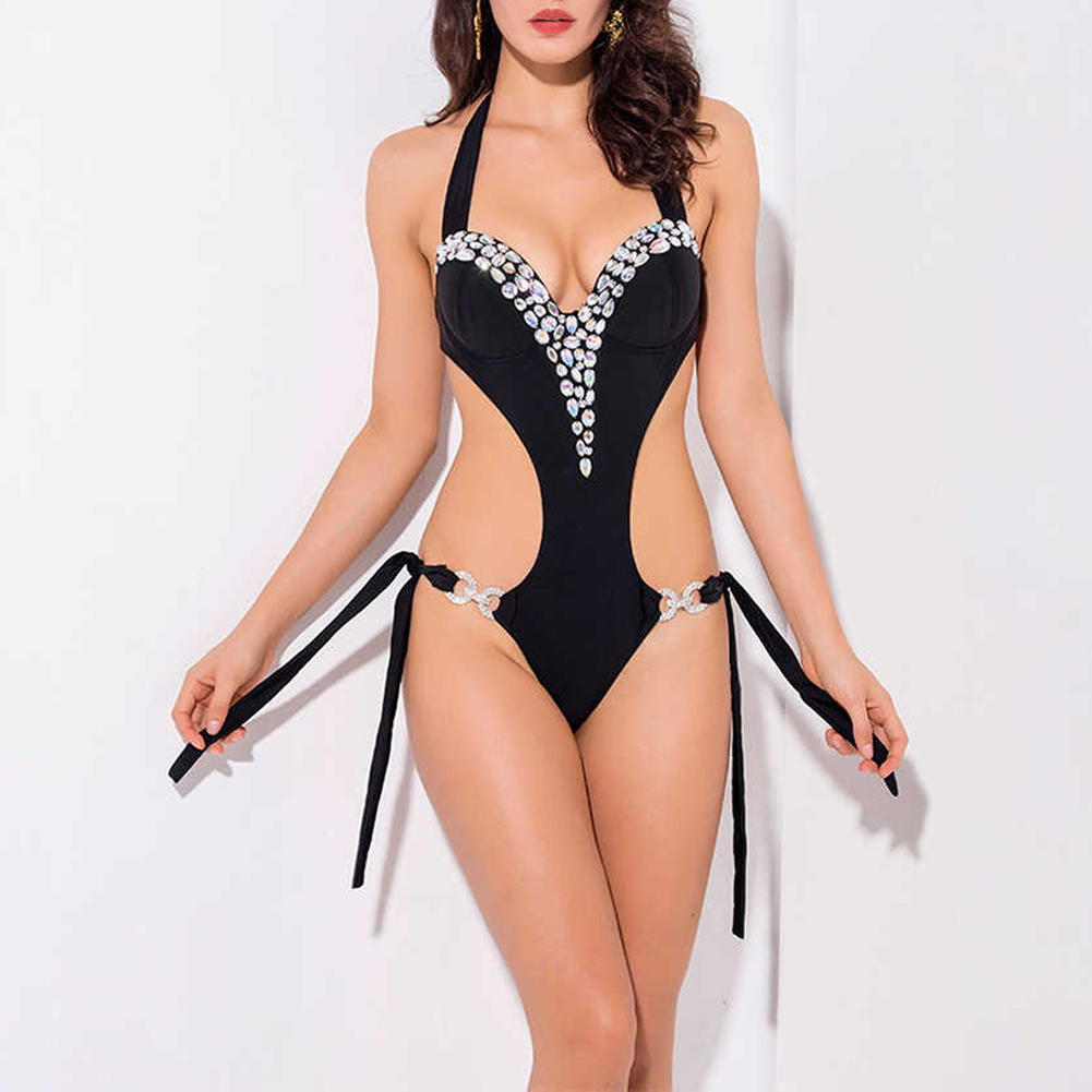 Monokini Maillot de bain une pièce strass Sexy