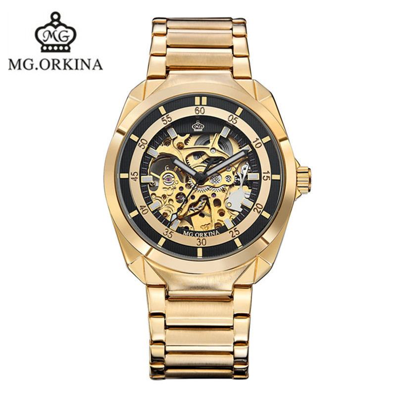 2016 selling genuine ORKINA hollow keel stainless steel automatic mechanical watches fashion waterproof man brand luxury