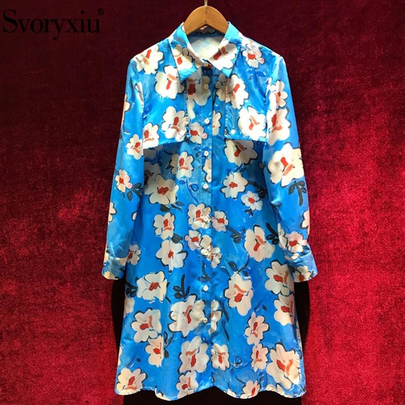 Svoryxiu Elegant Blue Hand Painted Floral Print Dress Women Long Sleeve Loose Shirts Dress Designer Spring