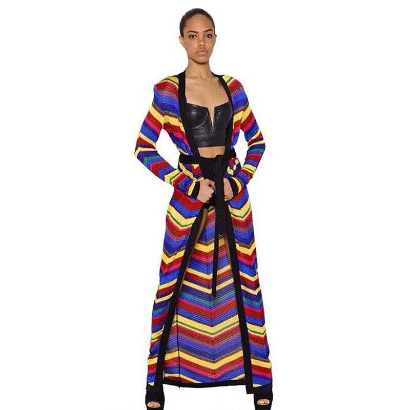 HIGH QUALITY New Fashion 2019 Designer Cardigan Women s Long Sleeve Rainbow Colors Knitting Extra Long