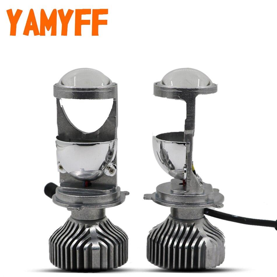 YAMYFF H4 LED Mini Projector Lens Car Headlight H4 Headlamp Hi lo Beam 12V Automobles LED