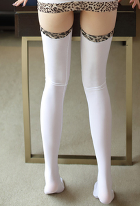 Image 4 - Sexy Shiny Leopard HIgh Stocking Candy Over Knee Socks Ice Silk Thigh High Elastic Sexy Stockings For Women F9