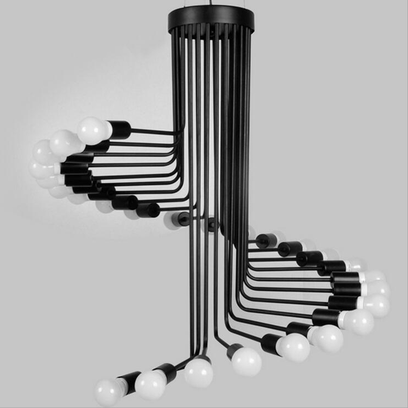Image 3 - loft American retro industrial wind creative personality spiral staircase living room coffee restaurant bar bar iron chandelieriron chandelierchandelier chandelierstaircase spiral -