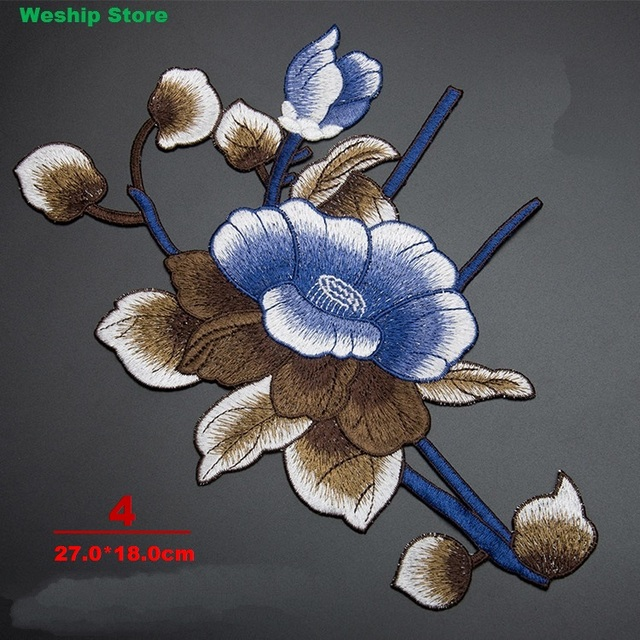 Diy 3d water lily lotus flower patch picture embroidery motif fabric diy 3d water lily lotus flower patch picture embroidery motif fabric applique clothing accessories sew mightylinksfo
