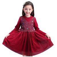 Baby Girl Winter Autumn Dress Clothing Stitching Design Purple Red Kids Dresses Princess Dress Long Sleeve