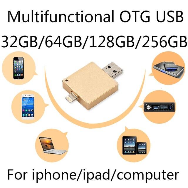 НОВЫЙ ГОРЯЧИЙ 64 ГБ Телефон OTG Usb Flash Drive 1 ТБ 2 ТБ Для Iphone 6/5 Ipad/Ipod, молнии Pen Drive 128 ГБ 256 ГБ Pendrive 32 ГБ 64 ГБ Подарок