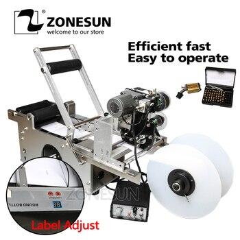 аппликатор этикеток   ZONESUN полуавтоматическая этикетка аппликатор Этикетировочная машина с принтер для печати даты бутылки LT-50DT прозрачный стикер