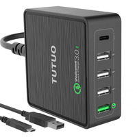 TUTUO USB Quick Charge 3.0 Type C Fast Charger Mobile Phone 40W Power Travel Desktop USB Charger for iPhone 7 8/Macbook/Android