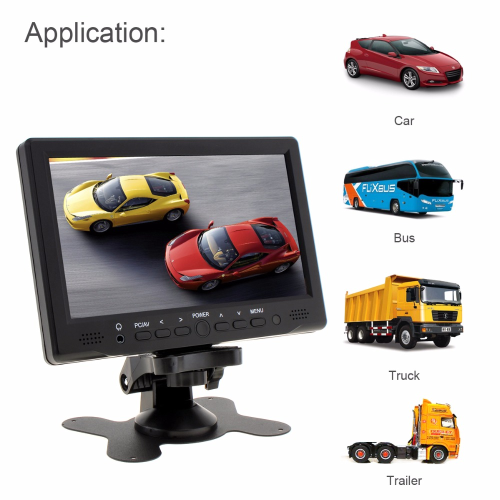 7 Inch TFT LCD Screen Car Rear View Monitor Support AV / VGA / HDMI + 7 IR Lights Night Vision Waterproof Car Rear View Camera zk101tc v59 10 1 inch 1280x800 full view hdmi vga metal shell embedded open frame industrial touch monitor lcd screen display