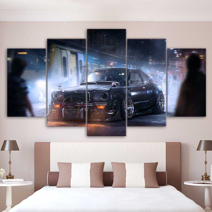 Modern Canvas Painting Home Decor For Living Room Frames 5 Pieces Vintage Sports Car Classic Pictures Wall Art HD Printed PENGDA