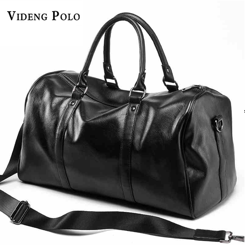 VIDENG POLO Brand Casual Travel Duffle Bag PU Leather Men Handbags Big Large Capacity Travel Bags Black Mens Messenger Bag Tote dakota smith солнцезащитные очки dakota smith