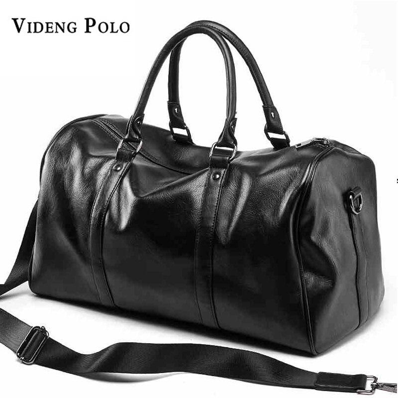 VIDENG POLO Brand Casual Travel Duffle Bag PU Leather Men Handbags Big Large Capacity Travel Bags Black Mens Messenger Bag Tote