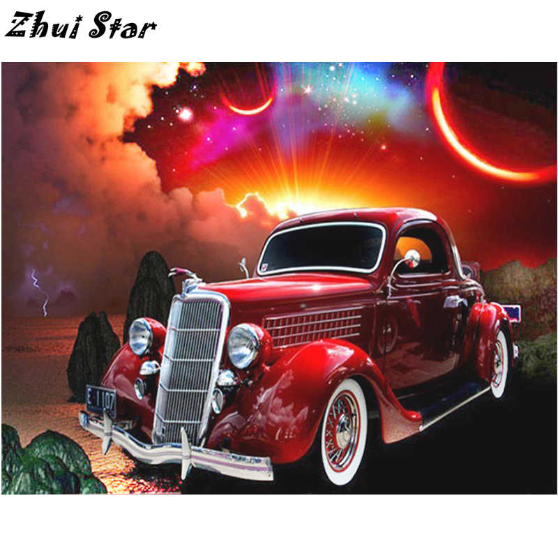 NEW Arrived 5D DIY Diamond Painting Red Vintage Car Diamond Painting Cross Stitch Needlework Scenic Home Decorative FC667