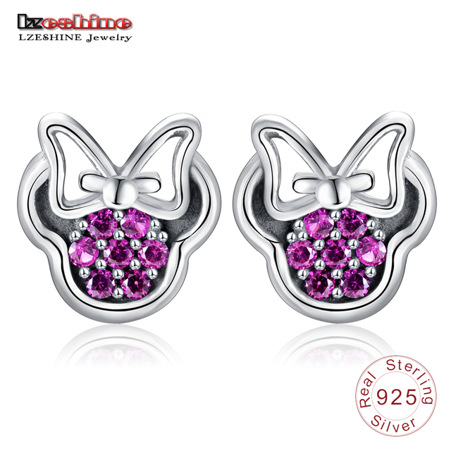 LZESHINE 2017 New Arrival Women Lovely Cute Bow Shape Earrings Stud 925 Sterling Silver with CZ Stone Silver Jewelry PSER0002-B
