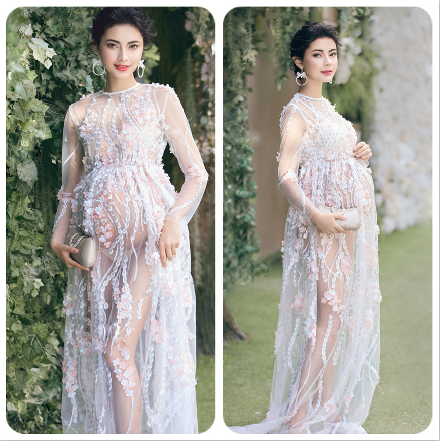 Sky Blue Maternity Photography Props Pregnancy Long Dresses for Pregnant Women Maternity Dress Evening Romantic Photo Shoot