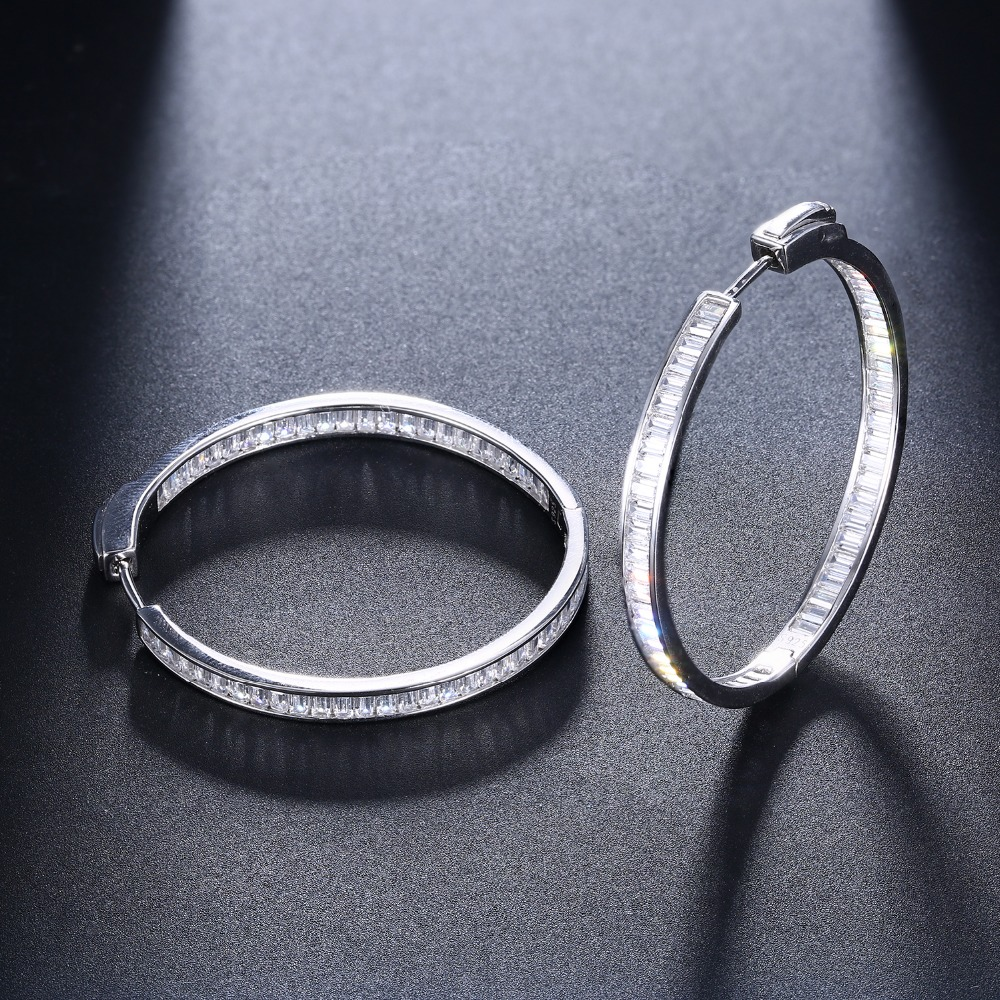 Image 3 - Luxury 38mm diameter Real silver hoop earring T square CZ jewelry