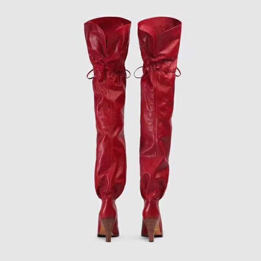 Rodilla Pista Muslo Altas Hasta rojo Sexy Redonda Mujer Prova Sobre La Encaje Botas Bowtie Negro De Tacón Perfetto Slip On Alto Punta Moda 8qH4IO
