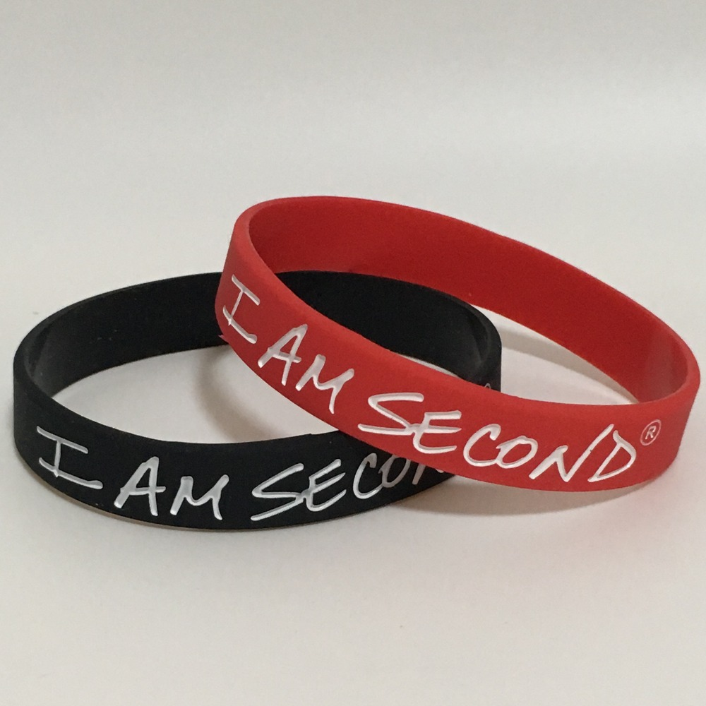 100pcs I am second Support silicone wristband bracelet key ring key chain free shipping by ePacket