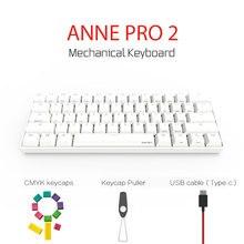 Anne Pro 2 Bluetooth 4.0 60% clavier mécanique Sans Fil Rétro-Éclairé Gateron MX Commutateurs Mini Portable clavier de jeu