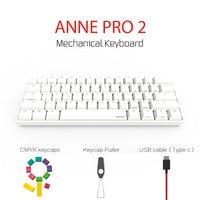 Anne Pro 2 Bluetooth 4.0 60% Mechanical Keyboard Wireless Backlit Gateron MX Switches Mini Portable Gaming Keyboard