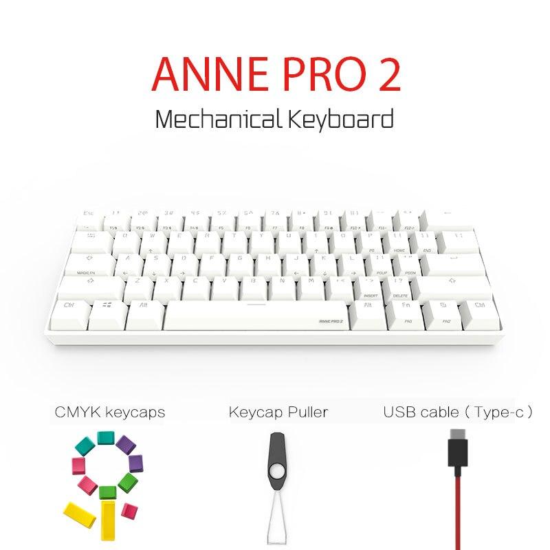 Anne Pro 2 Clavier Mécanique 60% Sans Fil Bluetooth 4.0 Rétroéclairé Gateron Switchs MX Mini Portable Bureau Clavier Mécanique