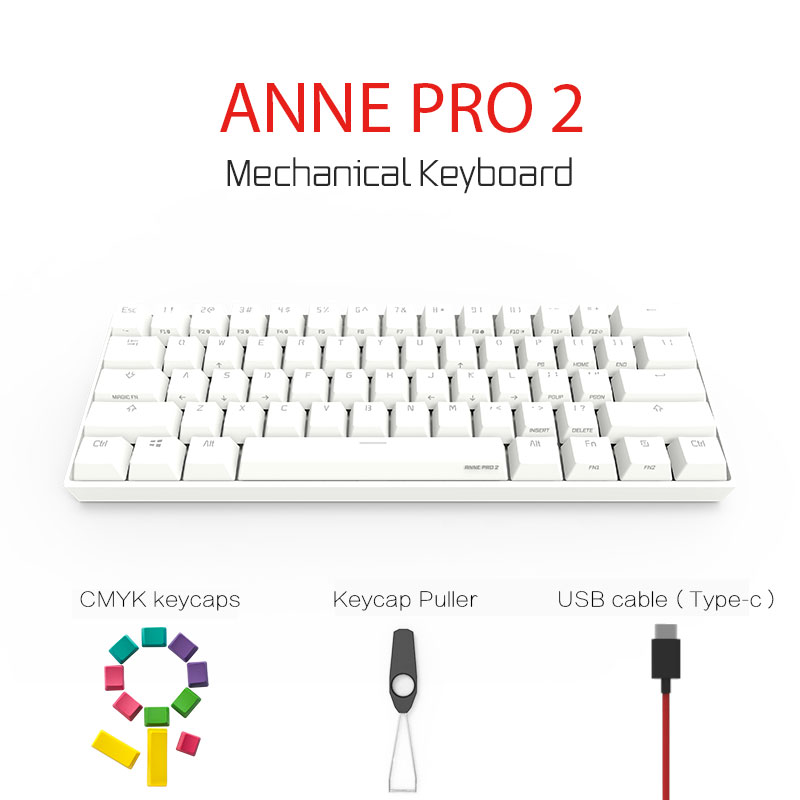 anne pro 2 mechanical keyboard 60  wireless bluetooth 4 0