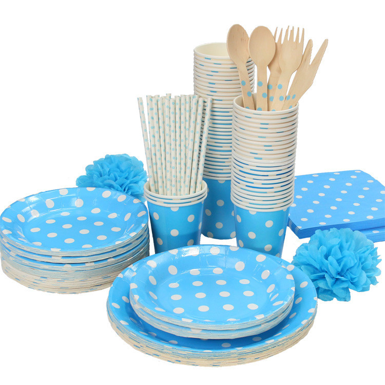 Lt.Blue u0026 White Polka Dots Tableware Party paper plate cups napkins paper strawwithout Cutlery Set Knives Forks Spoons on Aliexpress.com | Alibaba Group  sc 1 st  AliExpress.com & Lt.Blue u0026 White Polka Dots Tableware Party paper plate cups napkins ...
