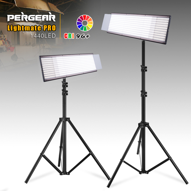 2 Sets Pergear Lightmate Pro CRI 96+ 87W 1440 LED Video Light Panel 3200~5500K Dimmable LED Flat Studio Light w/ Light Stands