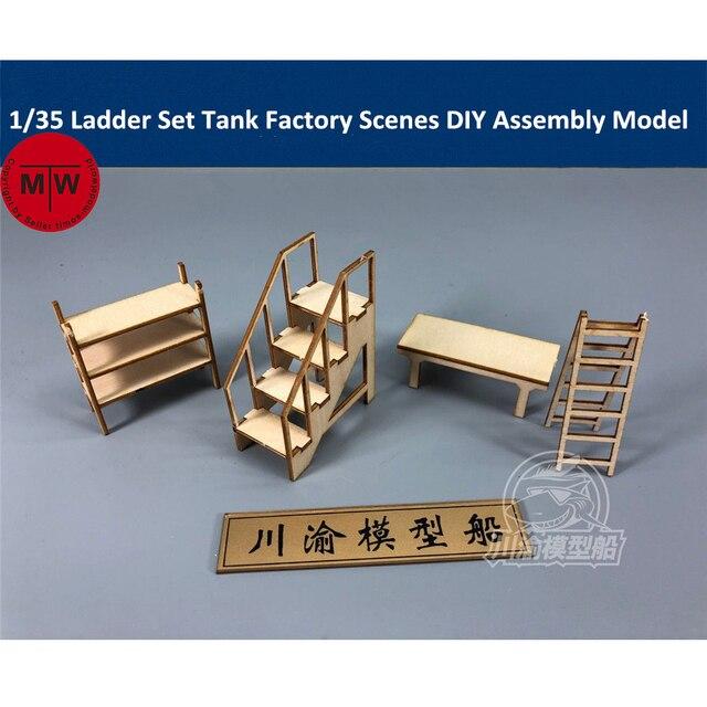 135 весы набор лестниц танк завод гаражный ремонтный магазин сцены Diorama Diy деревянный комплект моделей конструктор Cy734